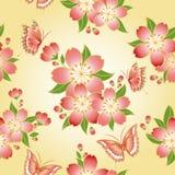 无缝开花樱桃东方的模式 库存图片