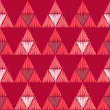 无缝抽象几何的模式 三角的纹理 五颜六色的刺绣织品 手孵化 免版税库存照片
