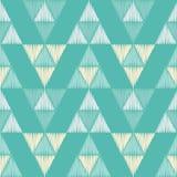 无缝抽象几何的模式 三角的纹理 五颜六色的刺绣织品 手孵化 免版税库存图片