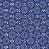 无缝抽象几何的模式 与圈子和线的蓝色和白色样式样式 库存图片