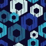 无缝抽象几何的模式 六角形纹理 粗鲁的 手孵化 免版税图库摄影