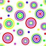 无缝抽象几何的模式 红色和蓝色,黄色和绿色圈子 库存图片