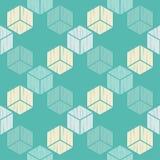 无缝抽象几何的模式 3d多维数据集 背景是能使用的镶嵌构造 粗鲁的 手孵化 向量例证