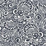 无缝抽象卷曲花卉的模式 免版税库存图片