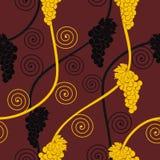 无缝抽象棕色葡萄的模式 免版税库存照片