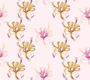 无缝抽象花卉的模式 专属装饰适用于纺织品,织品和包装 免版税库存图片