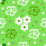 无缝抽象花卉绿色的模式 库存例证