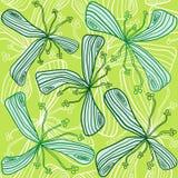 无缝抽象花的绿色 皇族释放例证
