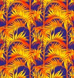 无缝掌上型计算机的模式 热带叶子背景 库存图片