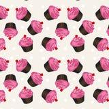 无缝杯形蛋糕的模式 传染媒介杯形蛋糕背景样式 免版税图库摄影