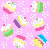 无缝杯形蛋糕的模式 免版税库存图片