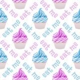 无缝杯形蛋糕的模式 免版税图库摄影