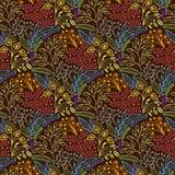无缝棕色花卉的模式 免版税库存照片