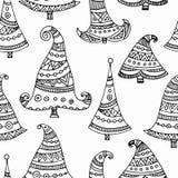 黑无缝概述装饰手拉的圣诞树 免版税库存照片