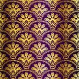 无缝模式孔雀紫色的莎丽服 图库摄影