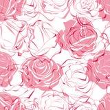 无缝模式桃红色的玫瑰 皇族释放例证