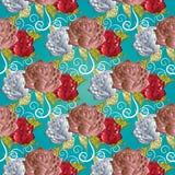 无缝模式的玫瑰 绿松石花卉传染媒介背景 Eleg 库存照片