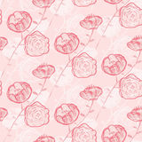 无缝模式的玫瑰 背景图画铅笔结构树白色 库存照片