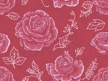 无缝模式红色的玫瑰 免版税库存图片