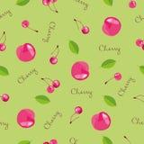 无缝樱桃的模式 有益于纺织品,包裹,横幅等等 甜成熟樱桃 向量例证
