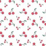 无缝樱桃的模式 有益于纺织品,包裹,墙纸等等 也corel凹道例证向量 库存图片