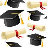 无缝毕业的帽子和的文凭 库存照片
