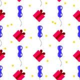 无缝气球、礼物和星假日 库存图片