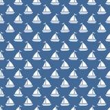 无缝深蓝怀特河小船的样式 免版税库存照片