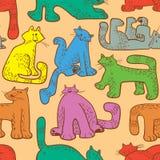 无缝猫滑稽的模式 与家养的宠物的背景 库存照片