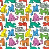 无缝猫滑稽的模式 与家养的宠物的背景 免版税库存图片
