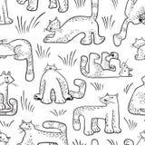 无缝猫滑稽的模式 与家养的宠物的背景 免版税库存照片