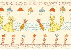无缝猫滑稽的模式 库存照片