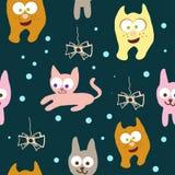 无缝猫的模式 库存照片