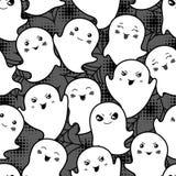 无缝的万圣夜kawaii动画片样式与 库存照片