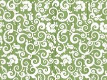 无缝的与抽象玫瑰的葡萄酒白色和绿色花卉样式 库存例证