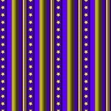 无缝的与星和垂直线蓝色黄色葡萄酒减速火箭的艺术的条纹图形传染媒介背景五颜六色的设计 免版税图库摄影