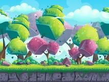 无缝的与未来派树的动画片自然风景 库存例证