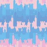 无缝的与桃红色和蓝色城堡的传染媒介条纹图形 皇族释放例证