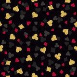 无缝的与红色的赌博娱乐场赌博的啤牌背景,黑 库存图片