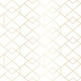 无缝的与线菱形的金几何样式 库存例证
