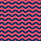 无缝的与蓝色和红色的传染媒介海洋样式挥动 免版税库存照片
