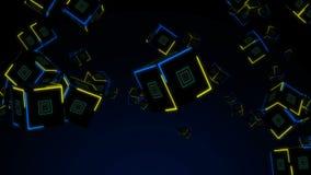 无缝的与霓虹灯的动画3d多角形立方体块落的行动图表运动在未来派背景样式 皇族释放例证