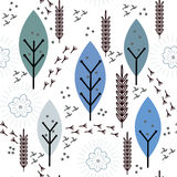 无缝的与鸟笼的传染媒介花卉样式 免版税库存图片