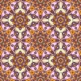 无缝的东方样式在树荫下紫色,红色,橙色,黄色&桃红色 库存图片