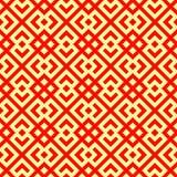 无缝的中国窗口网眼图案样式 在黄色背景的重复的风格化红色菱形 相称抽象传染媒介 库存例证