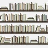 无缝的书,与书的无缝的样式,图书馆书架,图书馆,书店,在的书架子在图书馆里,平的书, 库存例证