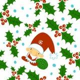 无缝的乱画圣诞节样式 动画片无边的背景 圣诞老人项目、帽子和胡子,槲寄生 皇族释放例证