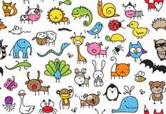 无缝的乱画动物样式 免版税库存图片