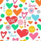 无缝的乱画心脏爱传染媒介样式 库存图片