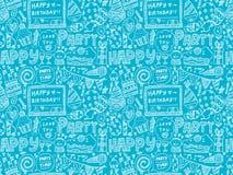无缝的乱画生日聚会样式背景 免版税库存照片